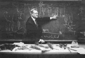 William A. Niering, Lucretia L. Allyn Professor Emeritus of Botany and Research Director of the Connecticut College Arboretum, at the blackboard