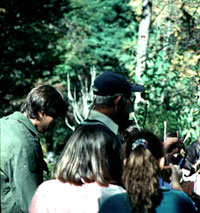William A. Niering, Lucretia L. Allyn Professor Emeritus of Botany and Research Director of the Connecticut College Arboretum, showing plant systematics