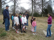 Connecticut College students lead local school children on Arboretum tours.