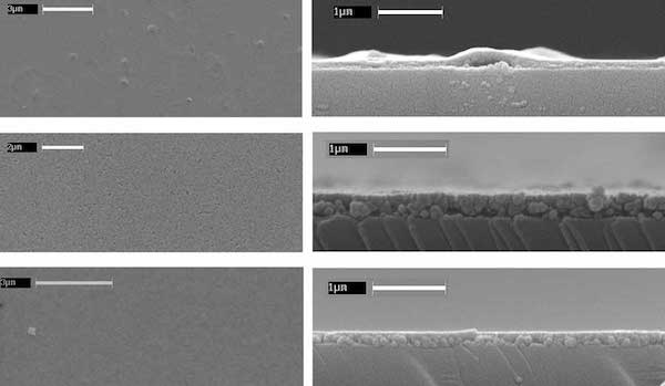 SEM images from above and edge views of Li-, Na-, and K-birnessite thin films (top to bottom, respectively).