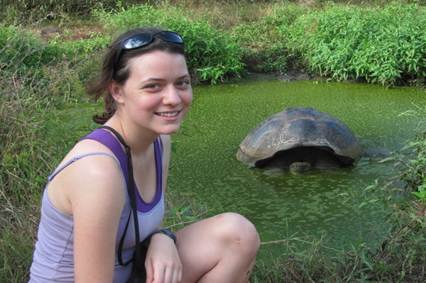 Claire Wellbeloved-Stone '14 at her internship with the World Wildlife Fund in the Galapagos.