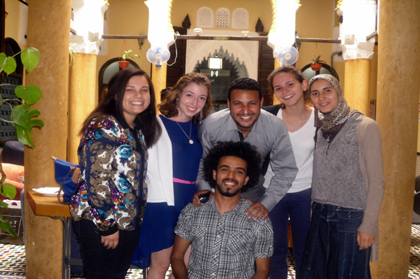 Connecticut College Toor Cummings Center for International Studies and the Liberal Arts, CISLA, scholar Sybil Bullock '14 during her internship with her colleagues at the Center for Cross-Cultural Learning in Rabat, Morocco.