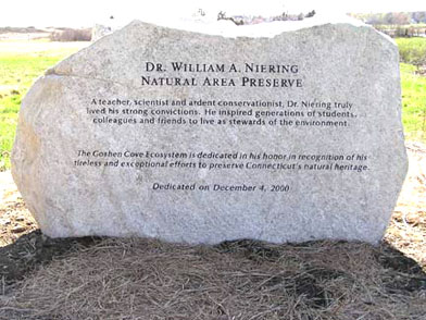 Memorial for William Niering located in Harkness Memorial State Park, Waterford, Connecticut.