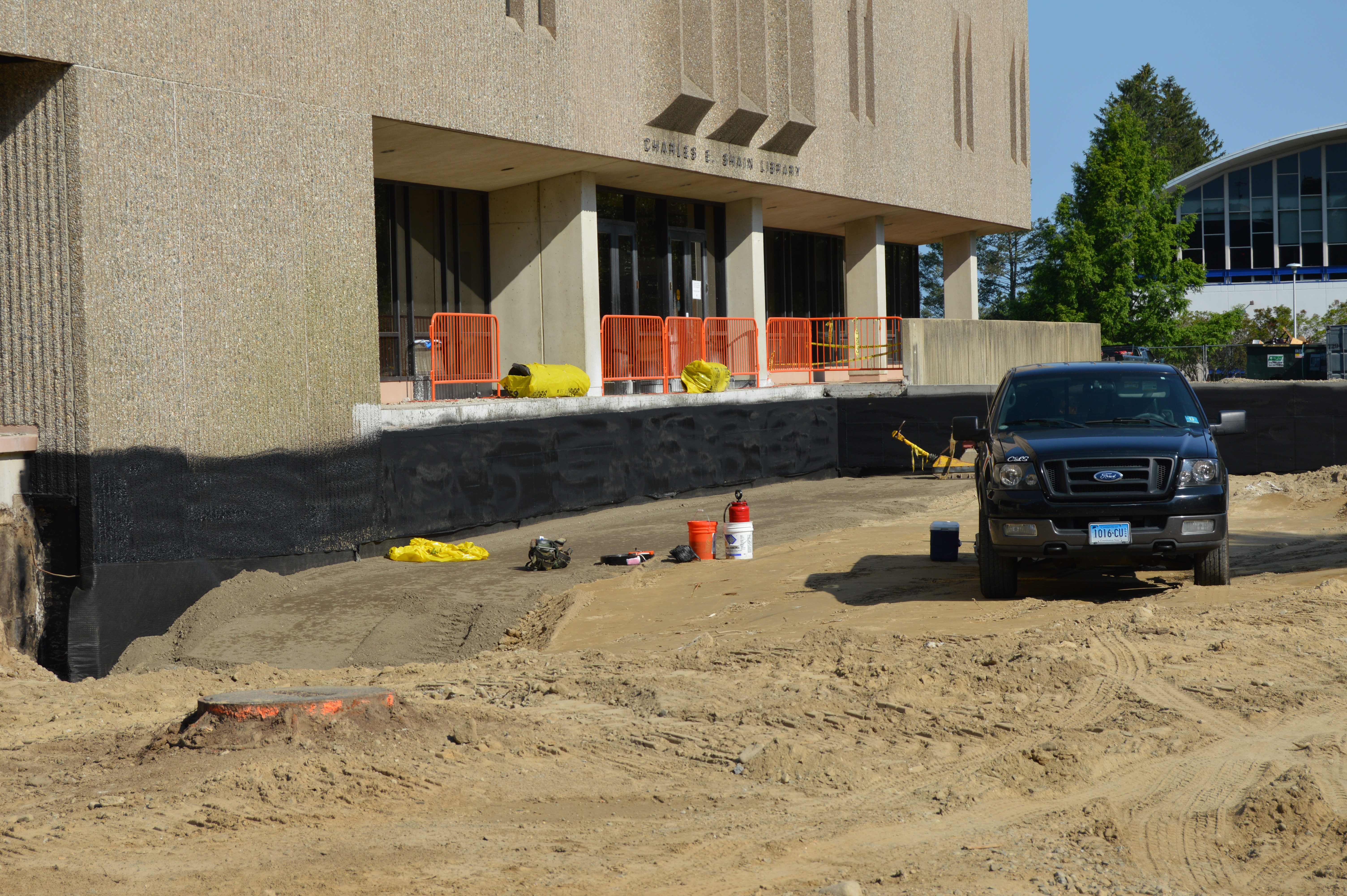 Photo of construction being done outside Shain Library